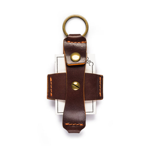 thread honcho flip key fob card holder brown open front full