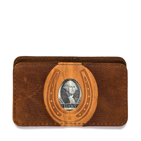 thread honcho lucky buck wallet brown open