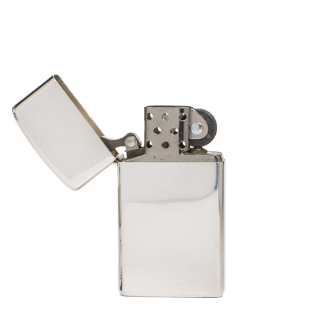 zippo lighter slim sterling silver front open