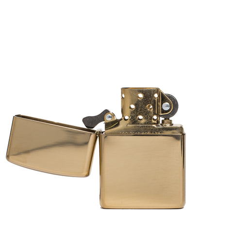 zippo lighter armor polished brass front open