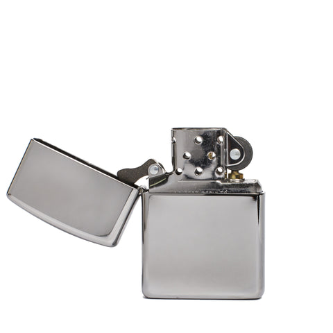 zippo lighter armor polished chrome front open
