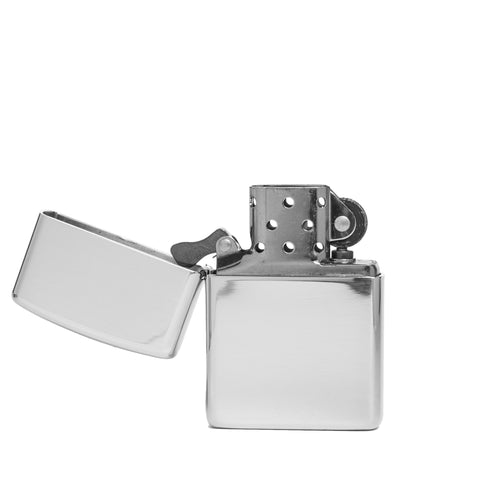 zippo lighter armor sterling silver front open
