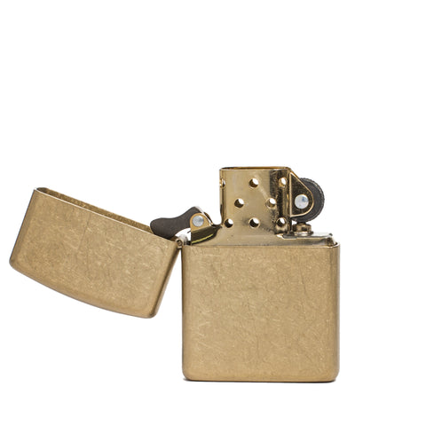 zippo lighter armor tumbled brass front open