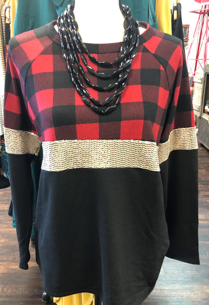 Plaid & Sequin Long Sleeve Top