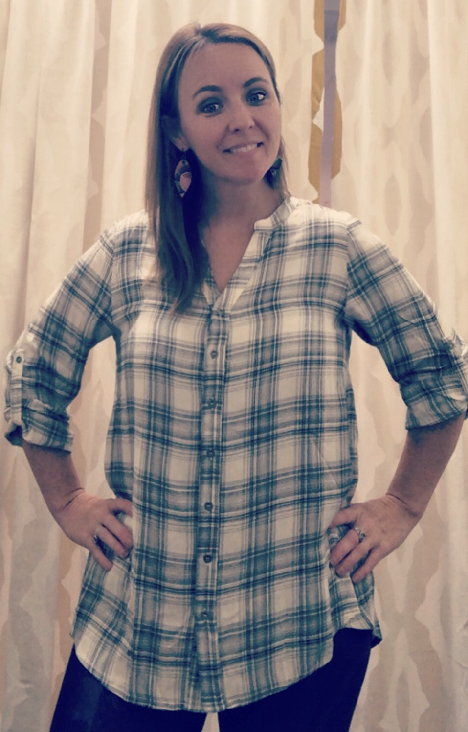 Plaid Rayon Blouse