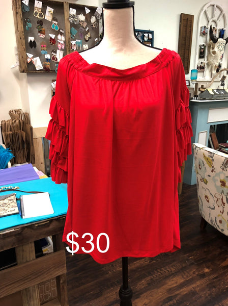 Tiered Layer Ruffle Sleeved Blouse (Plus)
