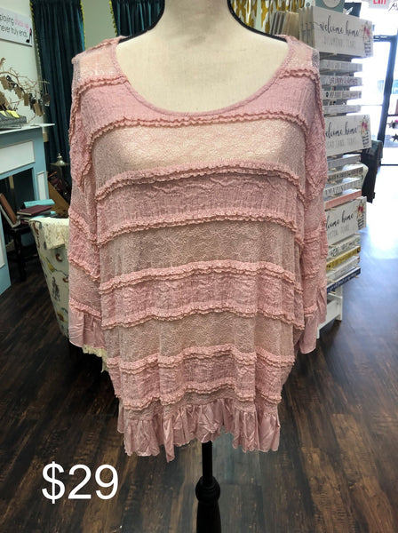 Wide Neck Crochet Knit Top (Plus)