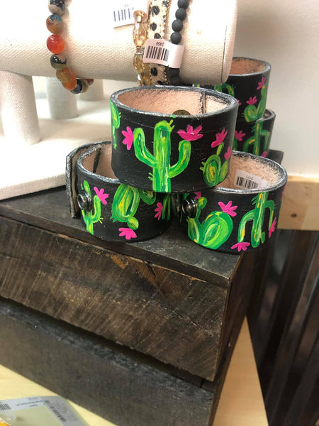 "Leather Handpainted Cacti Cuff (7"")"