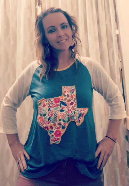 Floral Texas Patch Raglan Shirt
