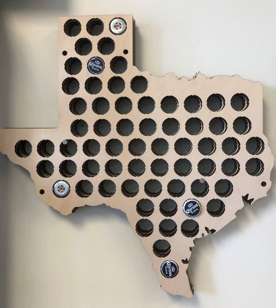 Torched Bottle Cap Wall Hanger (Texas)