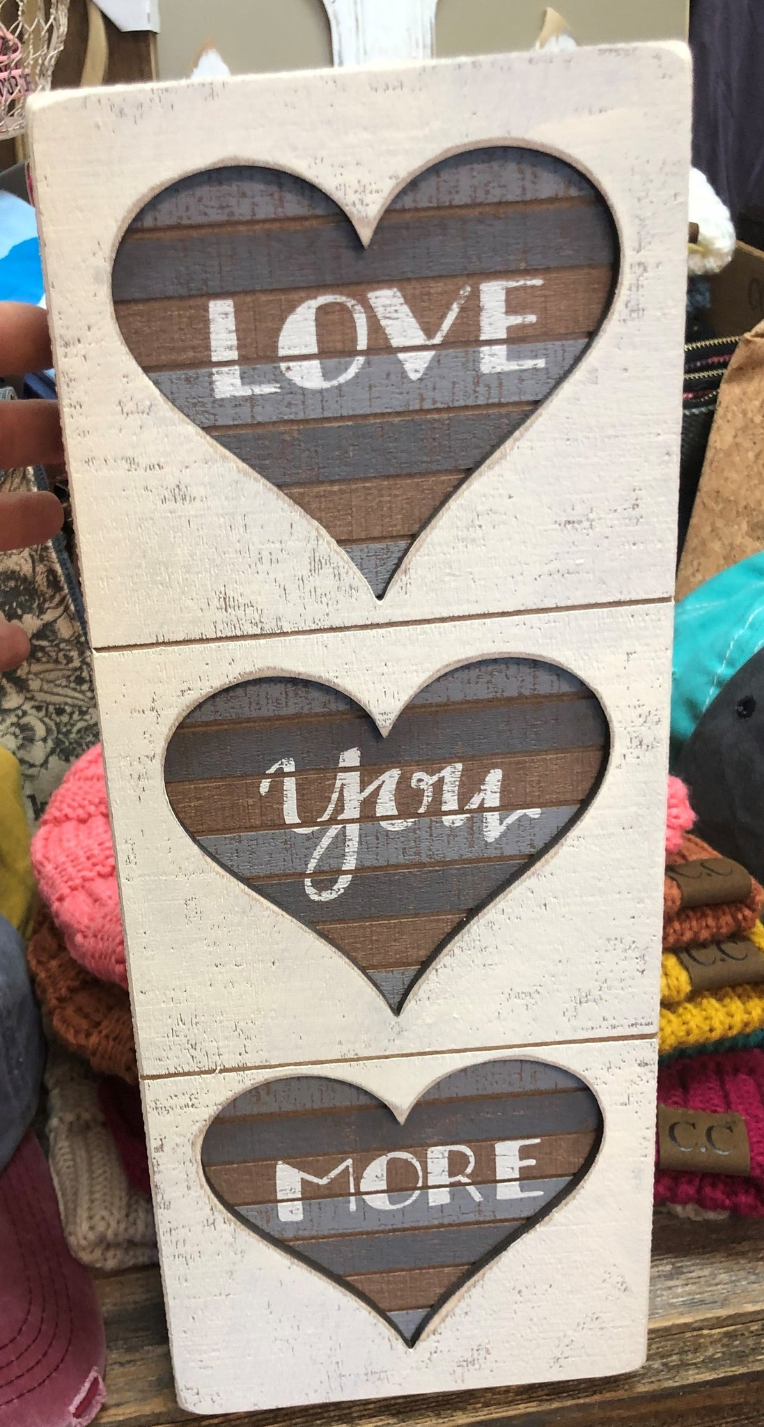 Love You More Tri Heart Box Sign
