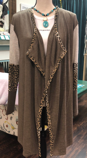 Leopard & Striped Sleeve Cardigan