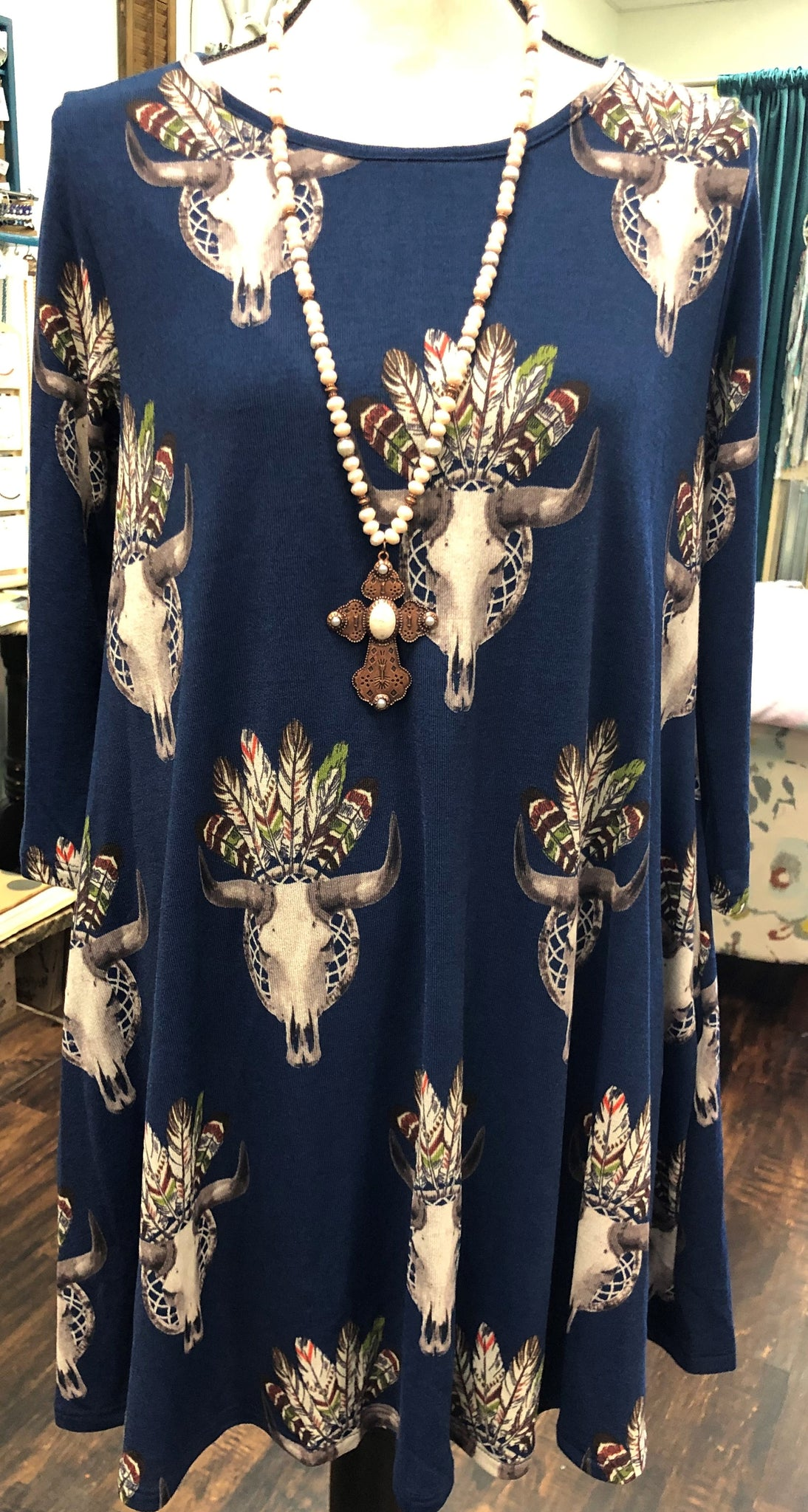 Navy Cattle Feather Dress