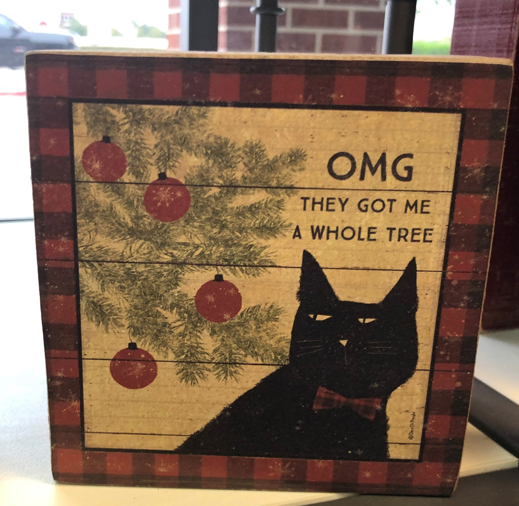 OMG.... Cat & Tree Wood Block Sign