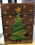 Merry & Bright String Art Box Sign