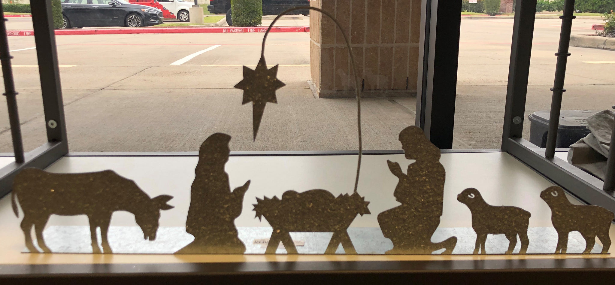 Tin Metal Nativity Stand w/ Glitter Frost