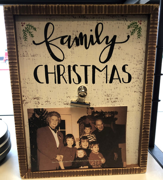 Family Christmas Box Sign Clip Frame