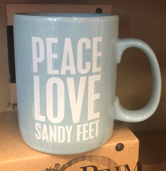 Large Peace, Love & Sandy Feet Coffee Mug