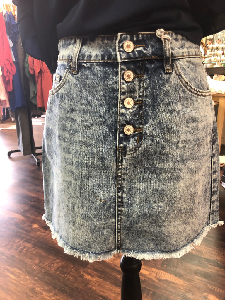 Stone Washed Denim Skirt by Kan Can