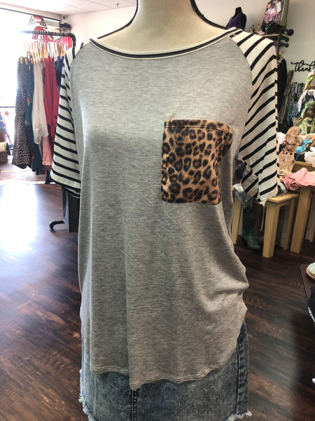 Animal Print/Striped Raglan Knit Top by BiBi