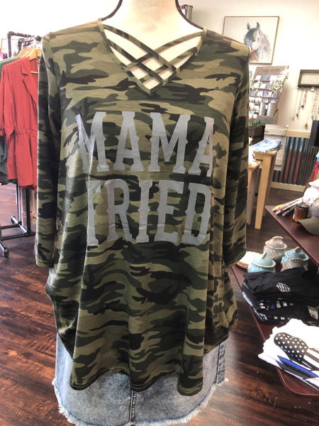 Mama Tried Camouflage Criss Cross Neck Top by Southern Stitch