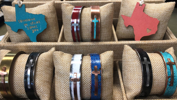 Steel Christian Cross Cuff Bracelets
