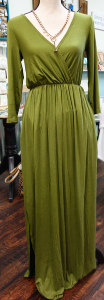 Olive V-Neck Rayon Maxi Dress