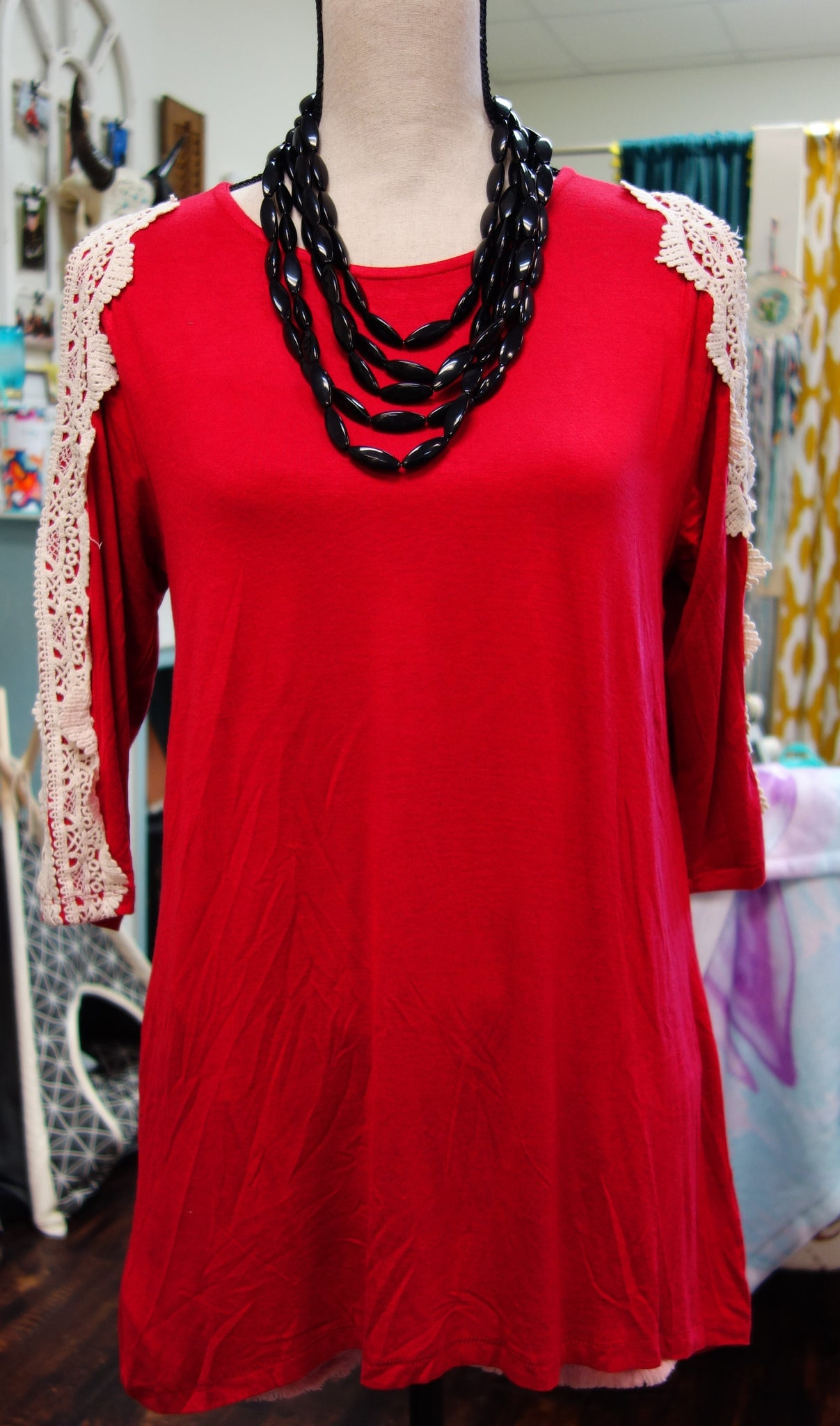 Red Cold Shoulder Top w/ Lace Detail