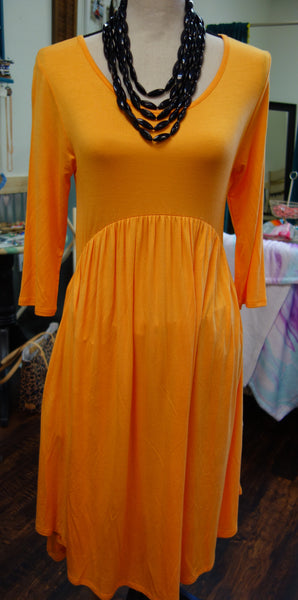 Orange 3/4 Sleeve Loose Swing Dress