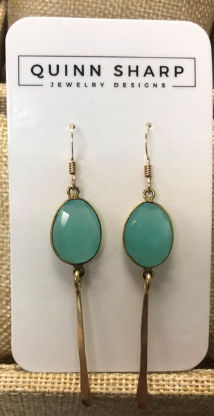 Aqua Chalcedony Bezel Earrings