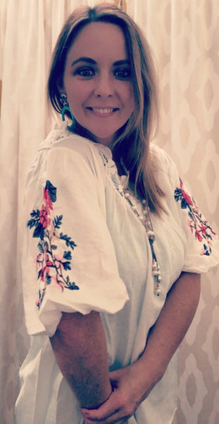 Lace Neck Embroidered Blouse