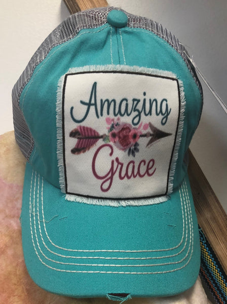 Distressed Amazing Grace Ball Cap