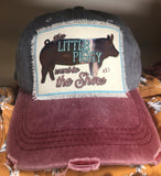 Distressed Little Piggy Patched Ball Cap