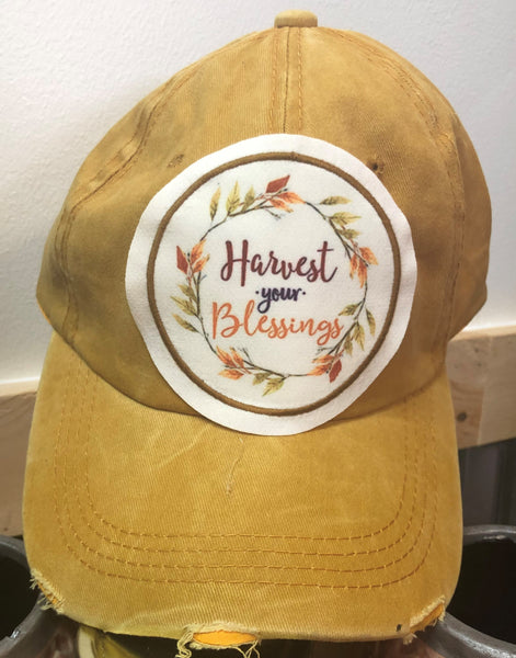Distressed Harvest Your Blessings Ball Cap
