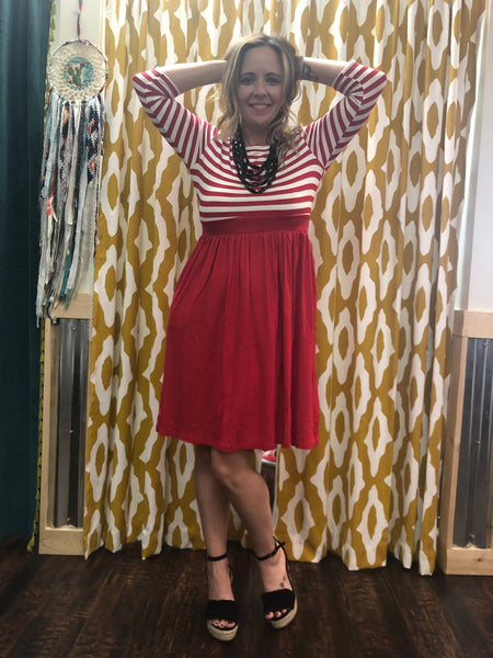 Red Striped Dress w/ Pockets
