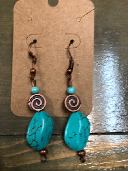 Bronze & Turquoise Bead Earrings