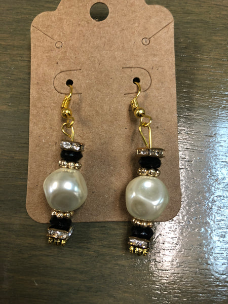 Black, Bling, & Pearl Beaded Earrings