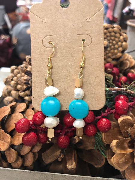 Teal, Gold, & Pearl Bead Earrings