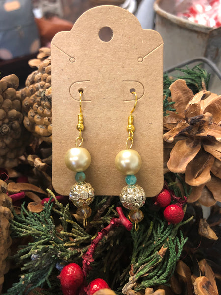 Hand Created Pearl & Bling Bead Earrings