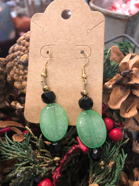Black & Green Beaded Earrings