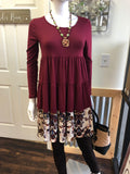 Burgundy Loose Fit Tiered Dress with Floral Hem