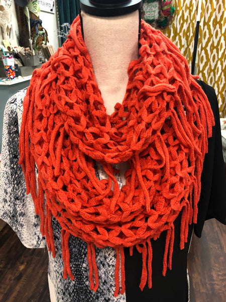 Orange Diamond Weave Infinity Scarf