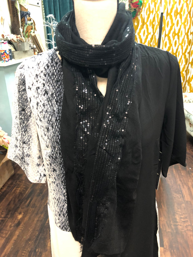 Feather Fringed Sequin Scarf