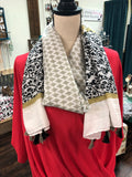 Gray & Black Diamond Tassle Scarf
