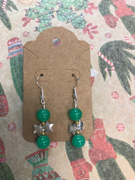 Teal Beads & Silver Star Earrings