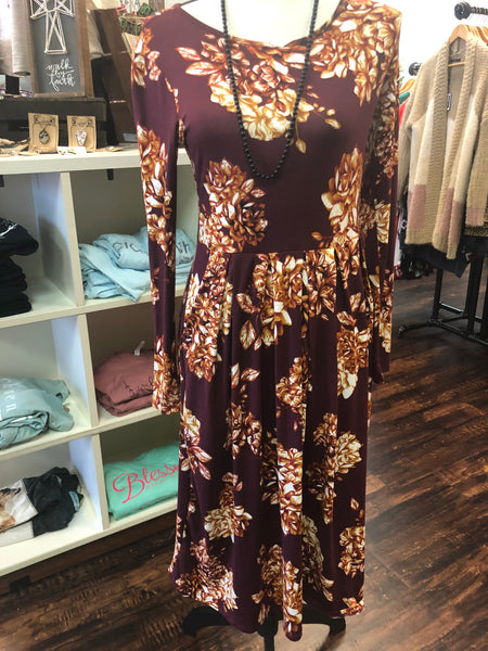 Small Maroon & Goldenrod Floral Dress