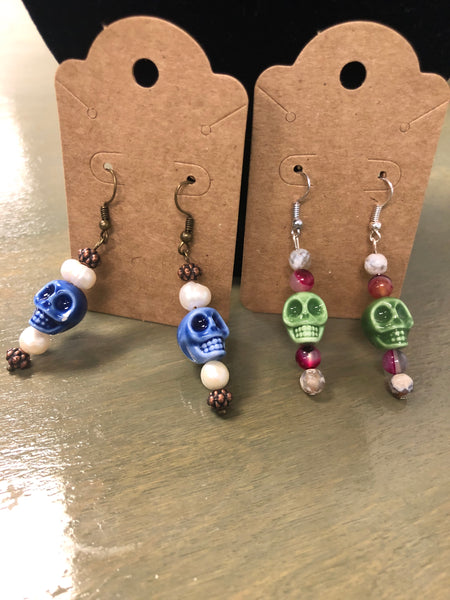 Homemade Skull Bead Earrings