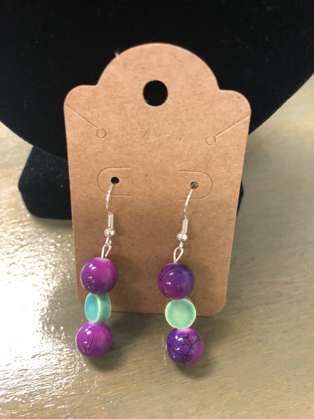 Purple & Green Bead Earrings