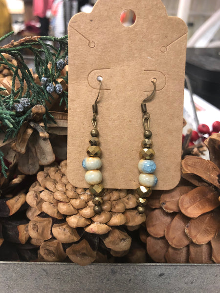 Blue & Gray Bead Earrings