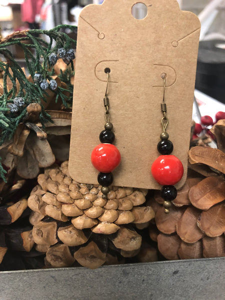 Coral & Black Bead Earrings